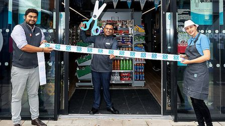 Manager Dinesh Patel opened the Co-op store in Junction Road with colleagues Harshall Patel and Mari