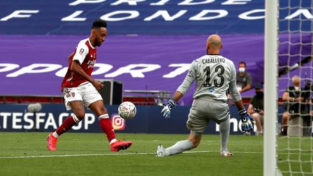 Arsenal's Pierre-Emerick Aubameyang scores his side's second goal of the game during the Heads Up FA