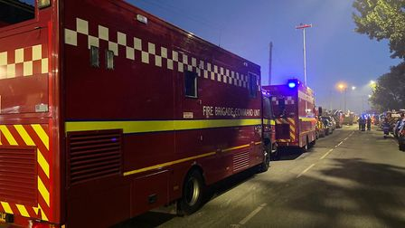 Eight fire engines dealt with a blaze at a recyling plant in Neasden. Picture: David Nathan