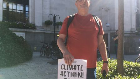 Ken Muller from the Natonal Education Union at a climate change strike. Picture: Lucas Cumiskey