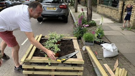 The gardening boxes in Mayton Street. Picture: Lynne Friedli