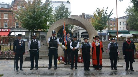L to R – Dr Charles Goodson Wicks (Deputy Lieutenant), police officers, David Dade (parade marshall/