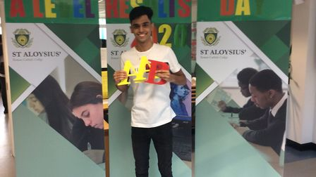 Zain from St Aloysius' College who achieved AAB and will go on to study law at Warwick University. P