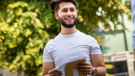 Hamidullah Fazli picks up his A Level results at the City of London Academy Islington. Picture: Jona
