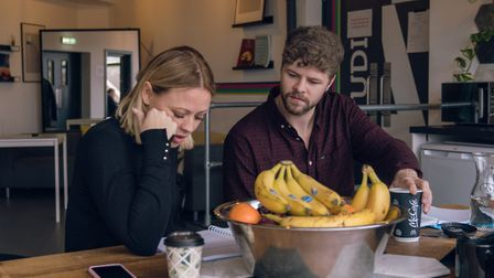 Kimberley Walsh & Jay McGuiness in Sleepless rehearsals. Picture: Ryan Howard