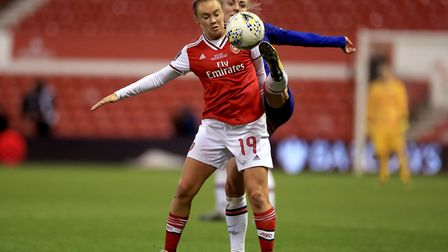 Arsenal's Caitlin Foord (left) and Chelsea's Sophie Ingle battle for the ball during the FA Women's