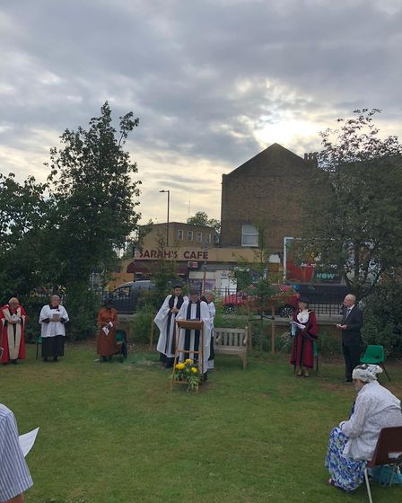 Ceremony at St John the Evangelist to launch the new Windrush Garden and sundial. Picture: Westminte