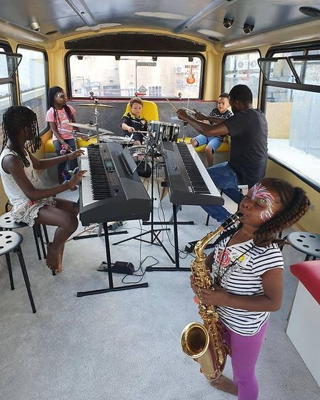 Kids enjoying MusicOnWheels at Willesden Sports Centre until Sunday. Picture: Lycaeum Music