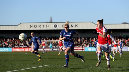 File photo dated 19-01-2020 of Chelsea's Mille Bright and Arsenal's Vivianne Miedema in action durin