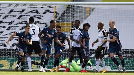 Arsenal's Gabriel (second right) celebrates scoring his side's second goal of the game with team-mat