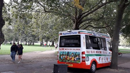 Ice cream van adapted to a cleaner, quieter and less climate-polluting fuel on Highbury Fields. Pict