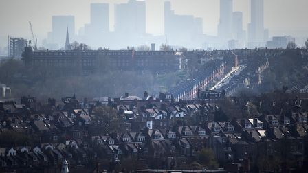 The Canary Wharf skyline viewed from Alexandra Palace, north London. Picture: Victoria Jones/PA