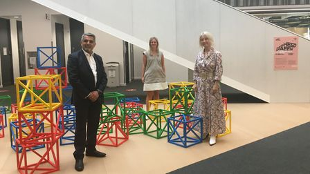 Cllr Muhammed Butt, Brent 2020's Lois Stonock and City Hall's Justine Simons OBE at the Brent Bienni