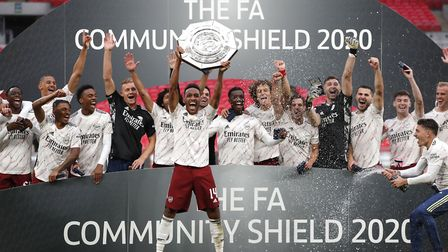 Arsenal's Pierre-Emerick Aubameyang lifts the trophy during the Community Shield at Wembley Stadium,