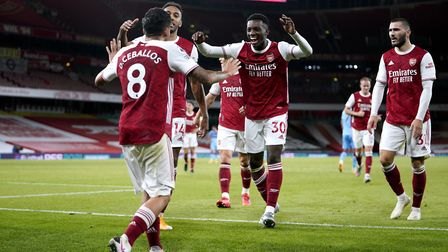 Arsenal's Eddie Nketiah (centre) celebrates scoring his side's second goal of the game with his team