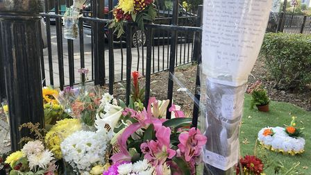 Memorial to Anthony Higgins, stabbed to death in Wembley. Picture: Nathalie Raffray
