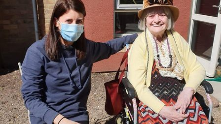 Muriel Street lifestyle lead and dementia champion Fieona Connolly with resident Dolina Tackaberry.