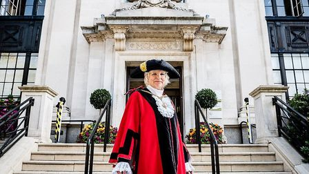 Islington's new mayor, Cllr Janet Burgess, outside the Town Hall. Picture: Islington Council/ Em Fit