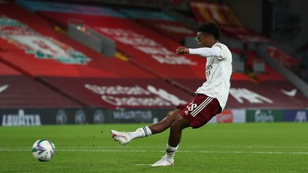 Arsenal's Joe Willock scores the winning penalty in the shoot-out during the Carabao Cup fourth roun