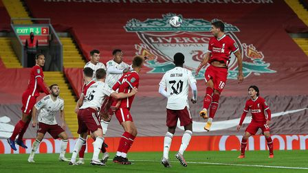 Liverpool's Marko Grujic (16) heads at goal during the Carabao Cup fourth round match at Anfield, Li