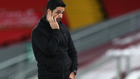 Arsenal manager Mikel Arteta on the touchline during the Carabao Cup fourth round match at Anfield