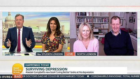 Alastair Campbell and partner Fiona Millar appear on Good Morning Britain, presented by hosts Piers Morgan and Susanna Reid.