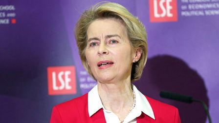 EU Commission President Ursula von der Leyen making a speech at the London School of Economics in Holborn, central London.