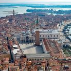 An aerial view from a helicopter of the deserted Piazza San Marco in the center of Venice