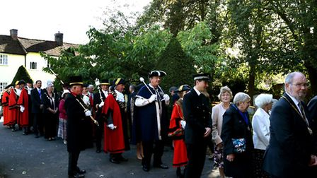 Civic dignitaries process to St Gregory's Church in Sudbury for the annual Civic Service on Sunday a