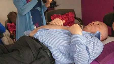Alan Forward prepares to wax his chest for charity Picture: CWH MEDIA