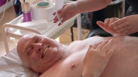 Mr Forward enjoys his charity chest wax Picture: CWH MEDIA