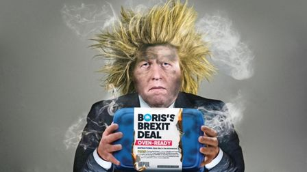 Boris Johnson with his oven-ready Brexit deal as illustrated by The New European