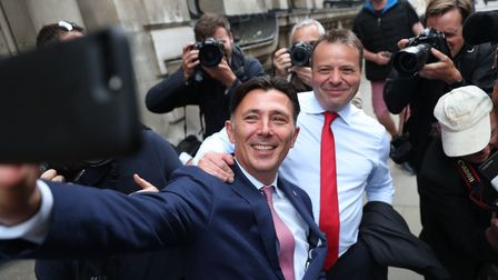 Brexit campaign donor and businessman Arron Banks (right) with Leave.EU campaigner Andy Wigmore in 2018.