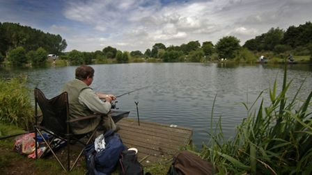 A fisherman pictured at Barford lakes