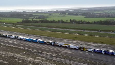 Lorries parked in a queue during a trial at the former Manston Airport site in Kent. Photograph: Vic