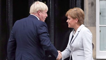 File photo dated 29/07/19 of Scotland's First Minister Nicola Sturgeon welcoming Prime Minister Bori