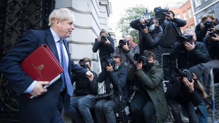 Prime Minister, Boris Johnson leaves the Foreign and Commonwealth Office in London after chairing hi