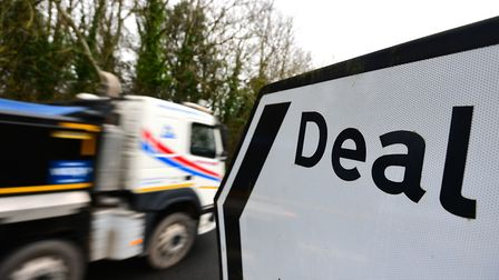 A lorry passes a sign to Deal on the day of two tests of a plan to use the former Manston Airport si