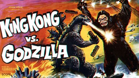 King Kong Vs. Godzilla, poster, poster art featuring the battling two titans, 1963