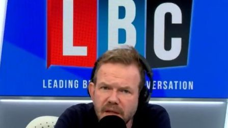 James O'Brien speaking into a microphone on LBC radio