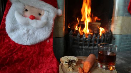 A mince pie, glass of sherry and a carrot by a fireplace. Photo: PA