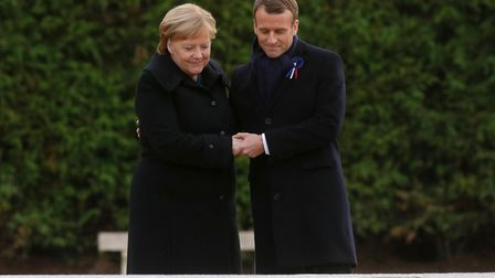 French President Emmanuel Macron and German Chancellor Angela Merkel. Picture: PHILIPPE WOJAZER/AFP/