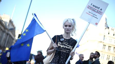 Anti-Brexit campaigners take part in the People's Vote March for the Future in London, a march and r
