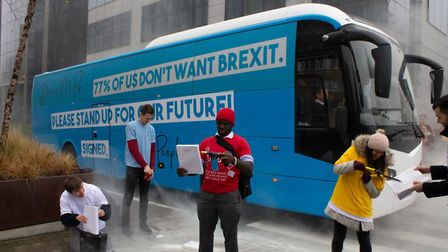 Campaigners from Our Future Our Choice protest against Theresa May's Brexit deal. Photo: Our Future