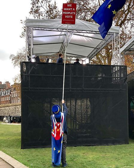 Steve Bray with his extended flagpole. Photograph: Steve Bray (@SNB19692)