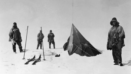 Robert Scott and his party finally arrive at the South Pole only to discover the tent left by Norweg