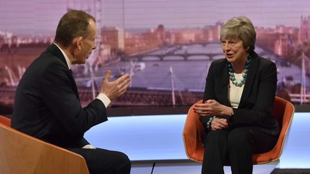 Andrew Marr interviews British Prime Minister Theresa May on The Andrew Marr Show. Photograph: Jeff