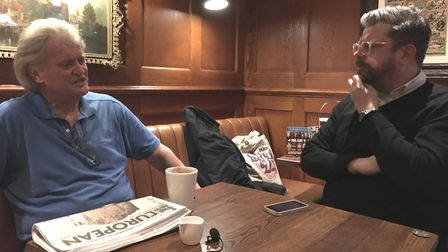 Wetherspoon's Tim Martin and The New European's Steve Anglesey. Photograph: Jonathon Read.