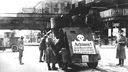 An armoured car in Berlin during the Spartacist uprising which broke out in Berlin following Germany
