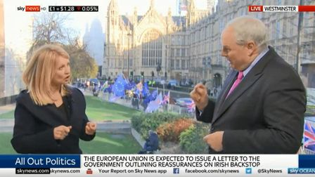 Esther McVey and Adam Boulton argue about Brexit and Universal Credit on Sky News. Photograph: Sky.